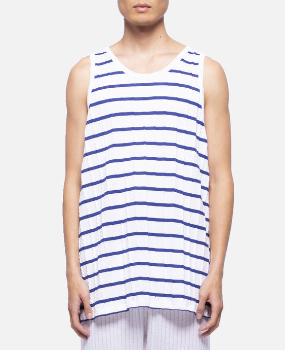 Cable Border Basketball Tank Top (White)