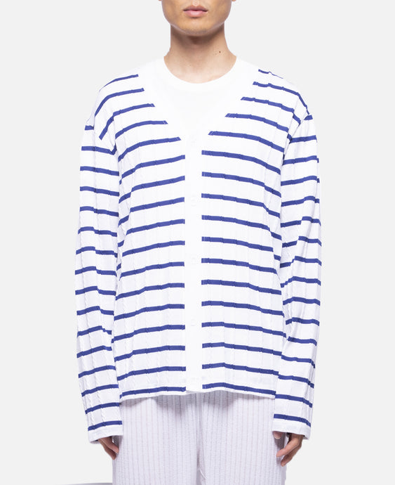 Cable Border Cardigan (White)