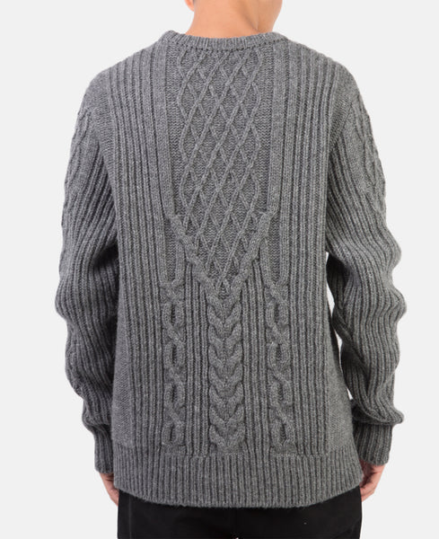 CABLE KNIT SWEATER (GREY)