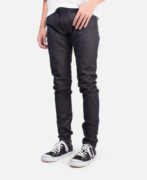 SELVEDGE PANELED DENIM JEAN-RAW INDIGO