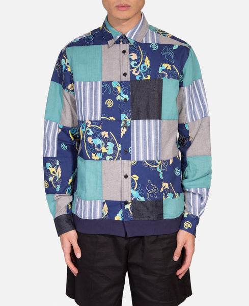 Patchwork Ribbed Button Up Shirt