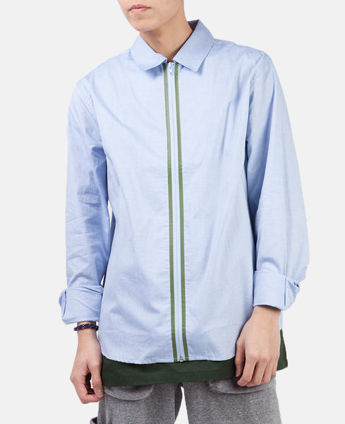 WELDED ZIP UP OXFORD SHIRT (BLUE)