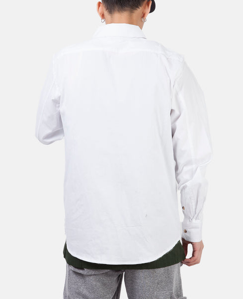 WELDED ZIP UP OXFORD SHIRT (WHITE)