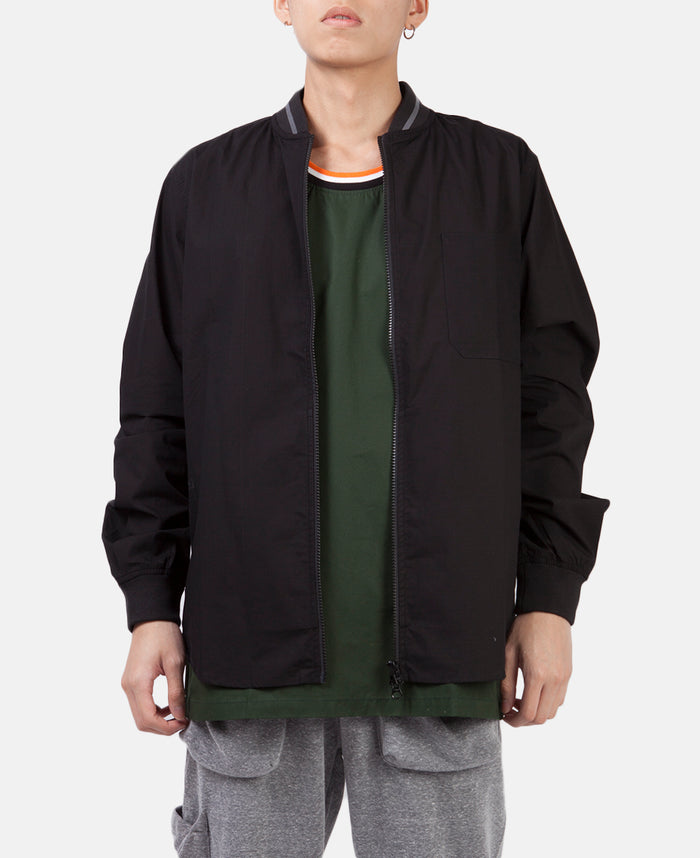 RIBBED ZIP UP SHIRT (BLACK)