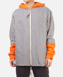 HEAVY WEIGHT STRIPE HOODIE SHIRT (BLUE)