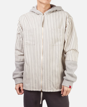 HEAVY WEIGHT STRIPE HOODIE SHIRT (GREY)