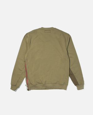 Side Zipped Crewneck Sweat (Green)