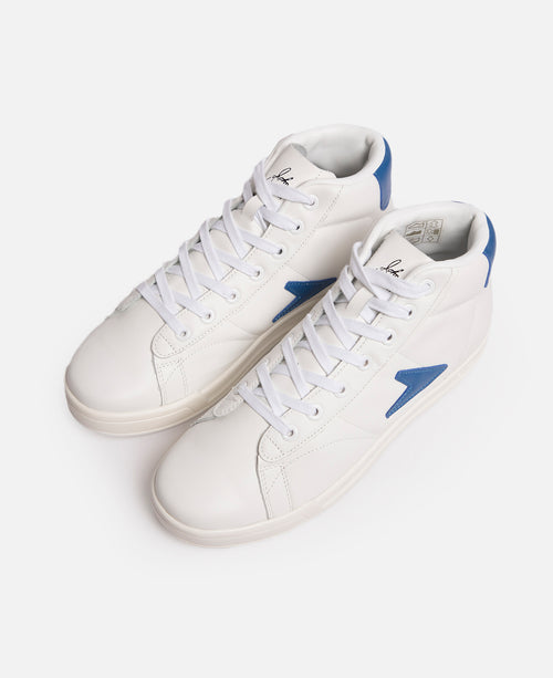 ece8bbe2f6bfa1 John Wooden High Top Blue Logo Leather