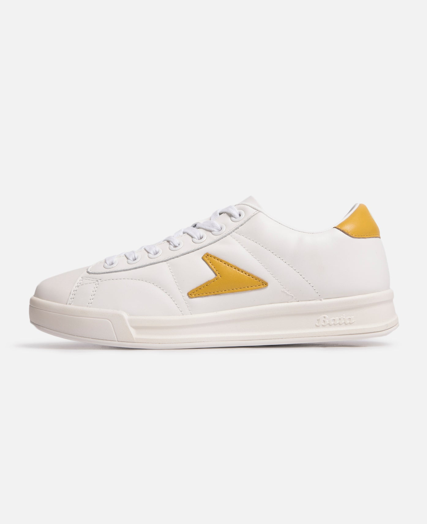 John Wooden Low Top Yellow Logo Leather