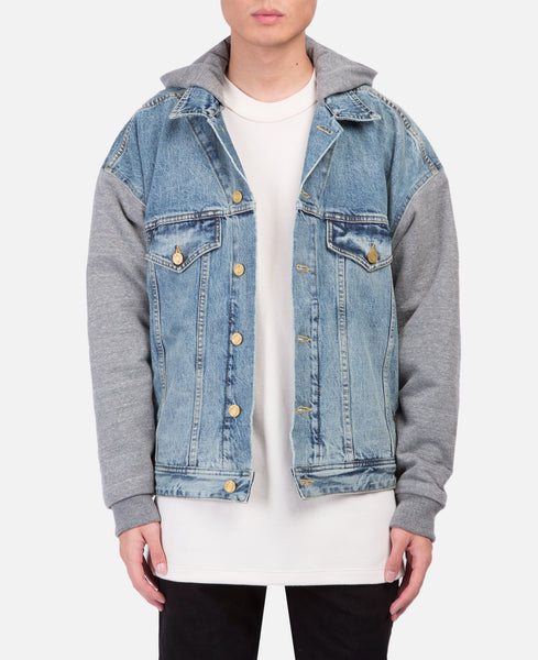 Indigo Denim Hooded Trucker Jacket with French Terry Sleeves