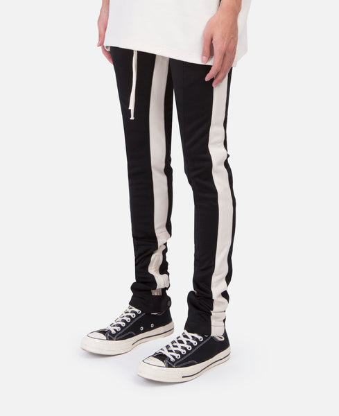 Black Double Stripe Track Pants