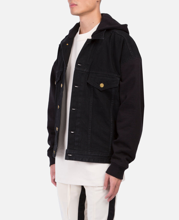 Black Hooded Trucker Jacket with French Terry Sleeves