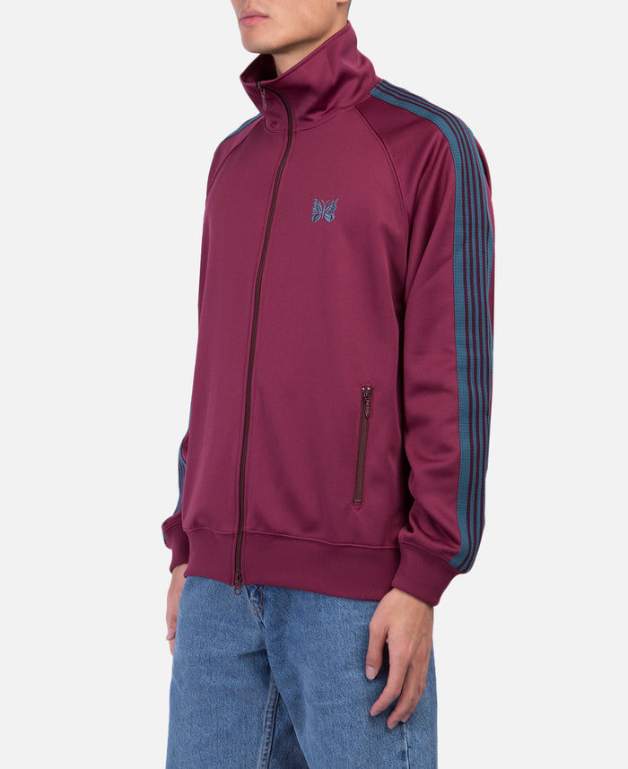 Burgundy Poly Smooth Track Jacket