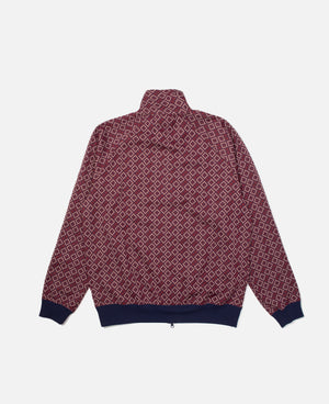 Burgundy Poly Jacquard Needles Track Jacket