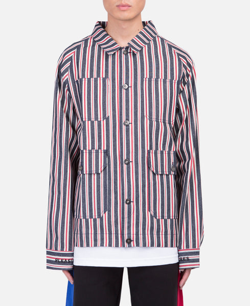 Striped Denim Utility Jacket (Red)