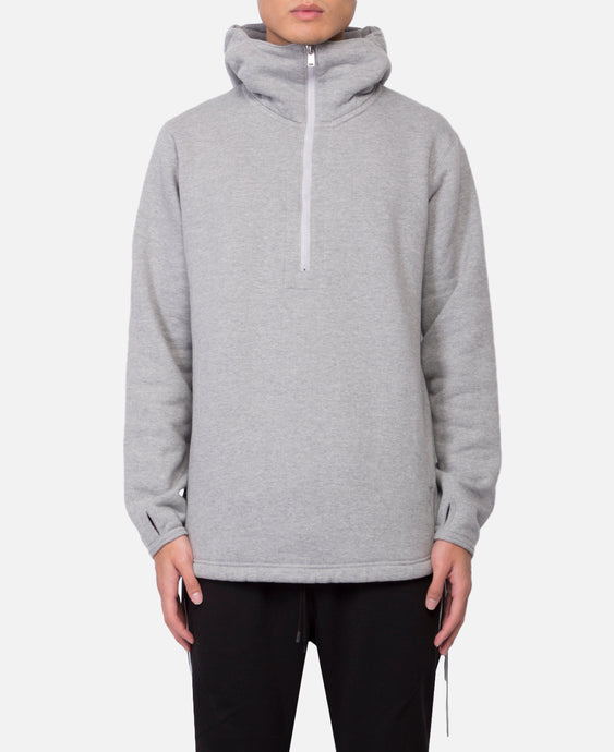 Cyclist Half Zip Hoody Cotton Sweat (Grey)