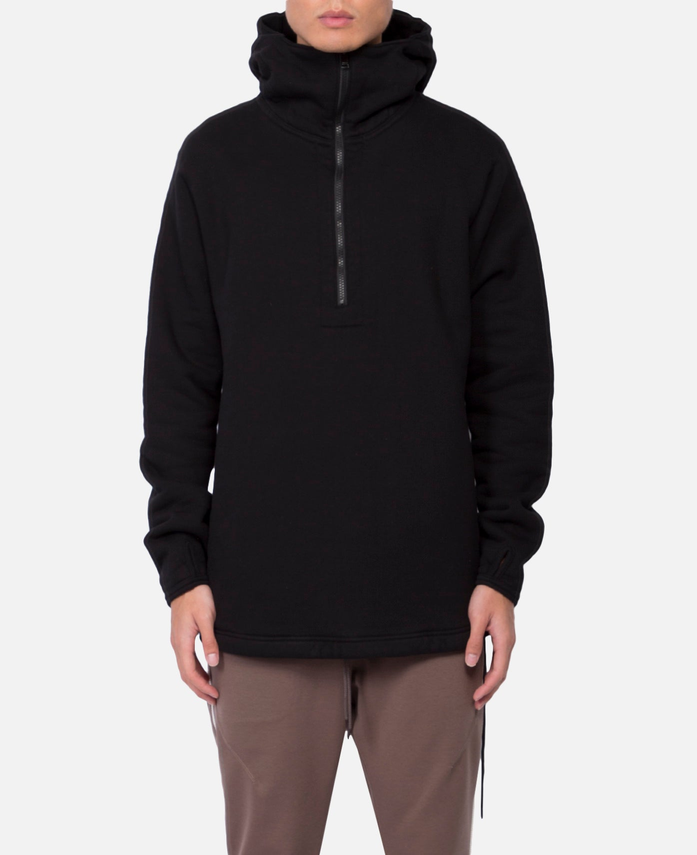 Cyclist Half Zip Hoody Cotton Sweat (Black)