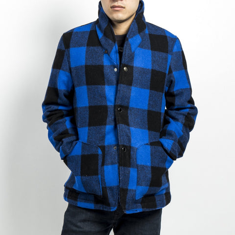 RYDAL SHAWL JACKET - CHECKED WOOL (NAVY)