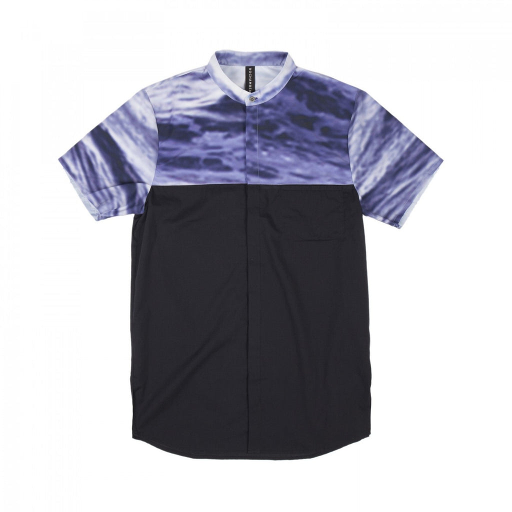 OCEAN COMBO BAND COLLAR SHIRT (PURPLE)