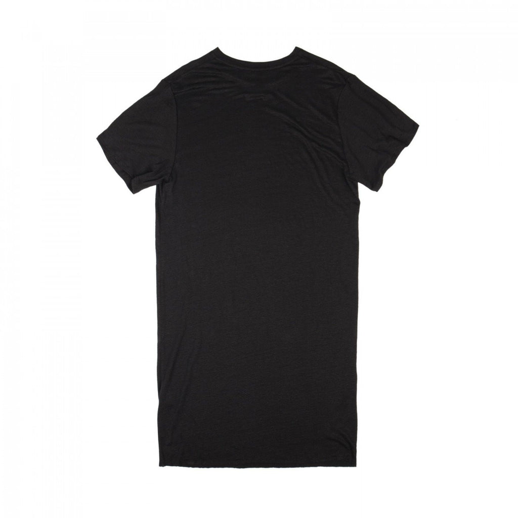 RAW EDGE LONG LINEN JERSEY TOP (BLACK)