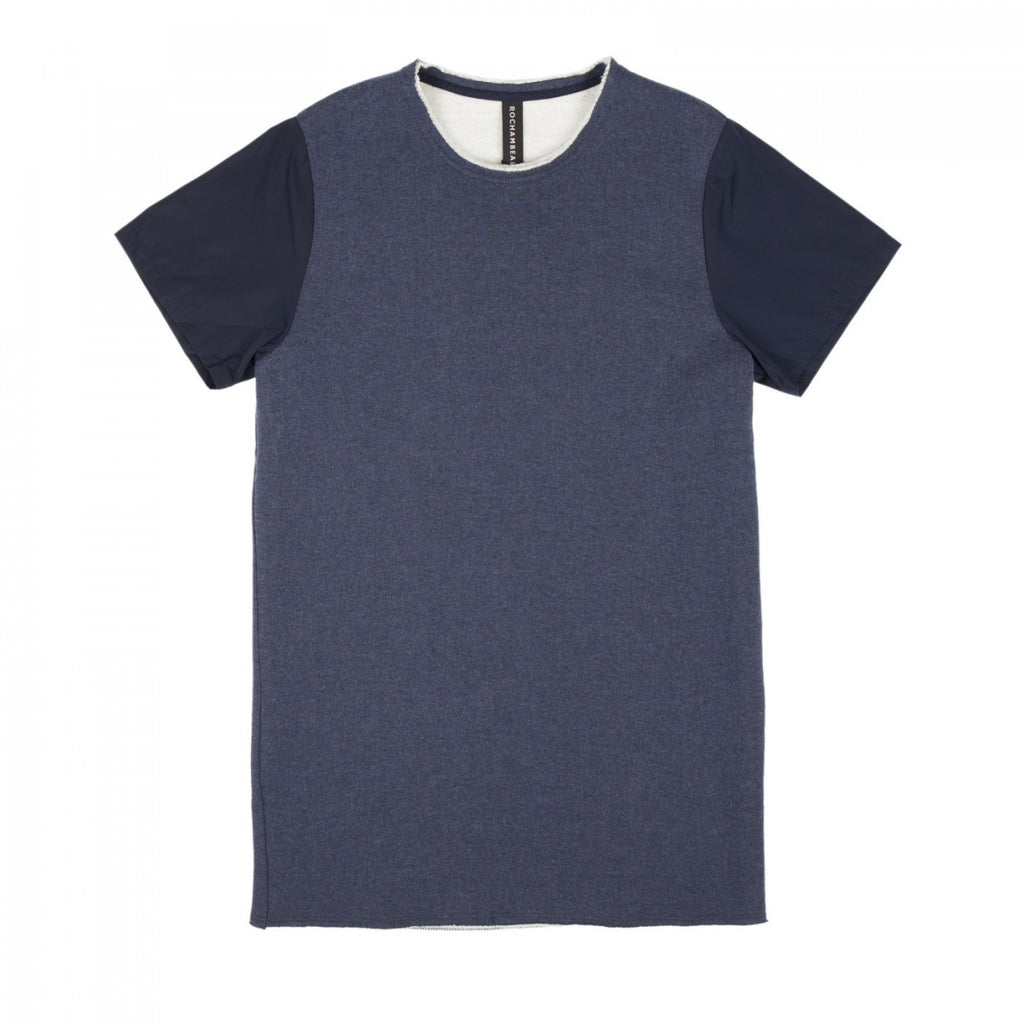 FRENCH TERRY AND NYLON COMBO T-SHIRT (NAVY)