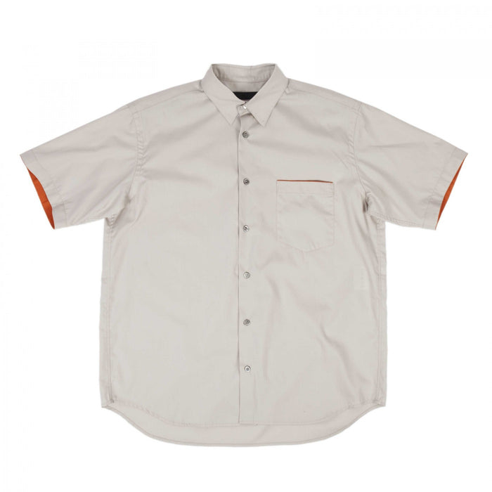 EMBROIDERED SHORT SLEEVE SHIRT (CREAM)