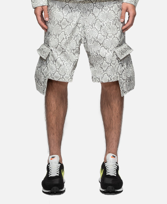 Faux Leather Snakeskin Cargo Short (White)