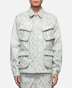 Faux Leather Snakeskin Perforated Cargo Jacket W/Cross (White)