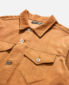 Corduroy Perforated Trucker Jacket (Brown)