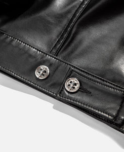 Faux Leather Perforated Trucker Jacket W/Cross (Black)