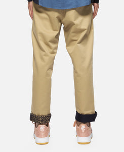 Sheer Contrast Roll Up Chino Button Pants (Beige)
