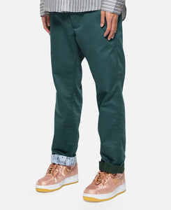 Sheer Contrast Roll Up Chino Button Pants (Green)