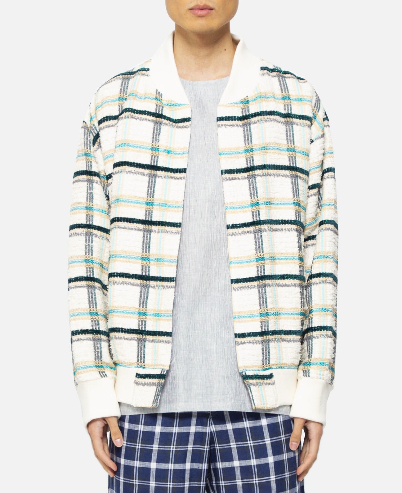 Reversible Pattern Stadium Jacket (Green)