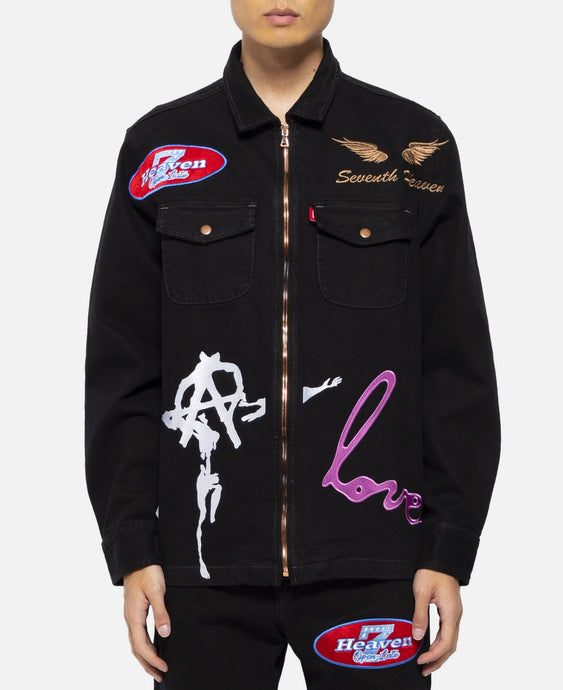 Embroidered Denim Zip Up Jacket (Black)