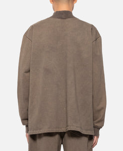 Mock Neck Crewneck Sweater (Brown)