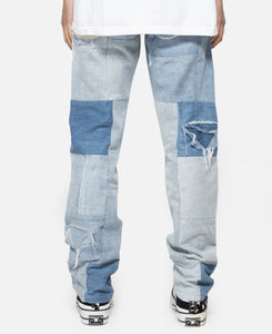 Unified Embroidered Patchwork Denim Jeans