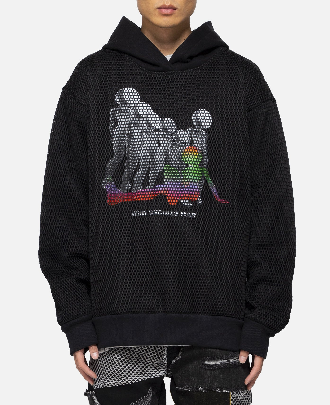 Who Decides War Mesh Overlay Hoodie