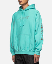 Classic Outline Logo Paneled Embroidered Hoodie (Blue)