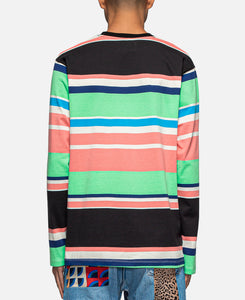 Embroidered Logo L/S Striped T-Shirt (Black)