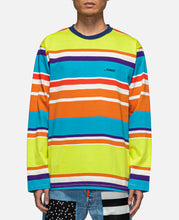 Embroidered Logo L/S Striped T-Shirt (Green)