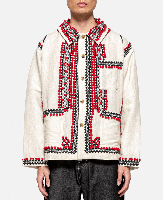 Pom-Pom Applique Workwear Jacket (White)