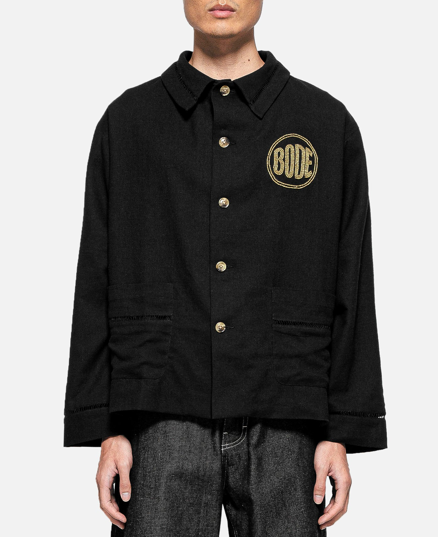 Beaded Bode Workwear Jacket (Black)