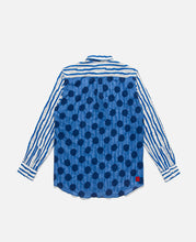 Button Up Blocking Shirt (Blue)