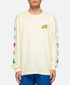 Flowers Print L/S T-Shirt (Off White)