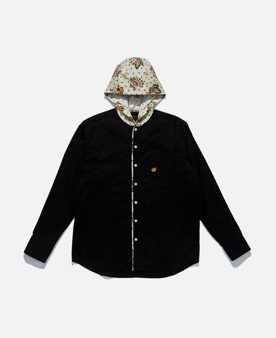 Hooded L/S Shirt With Piping (Black)