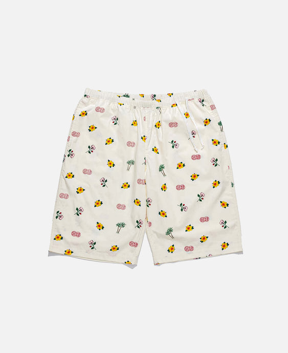 Overall Print Pajama Shorts (Off White)