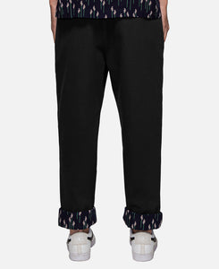 Contrast Cuff Pants (Black)