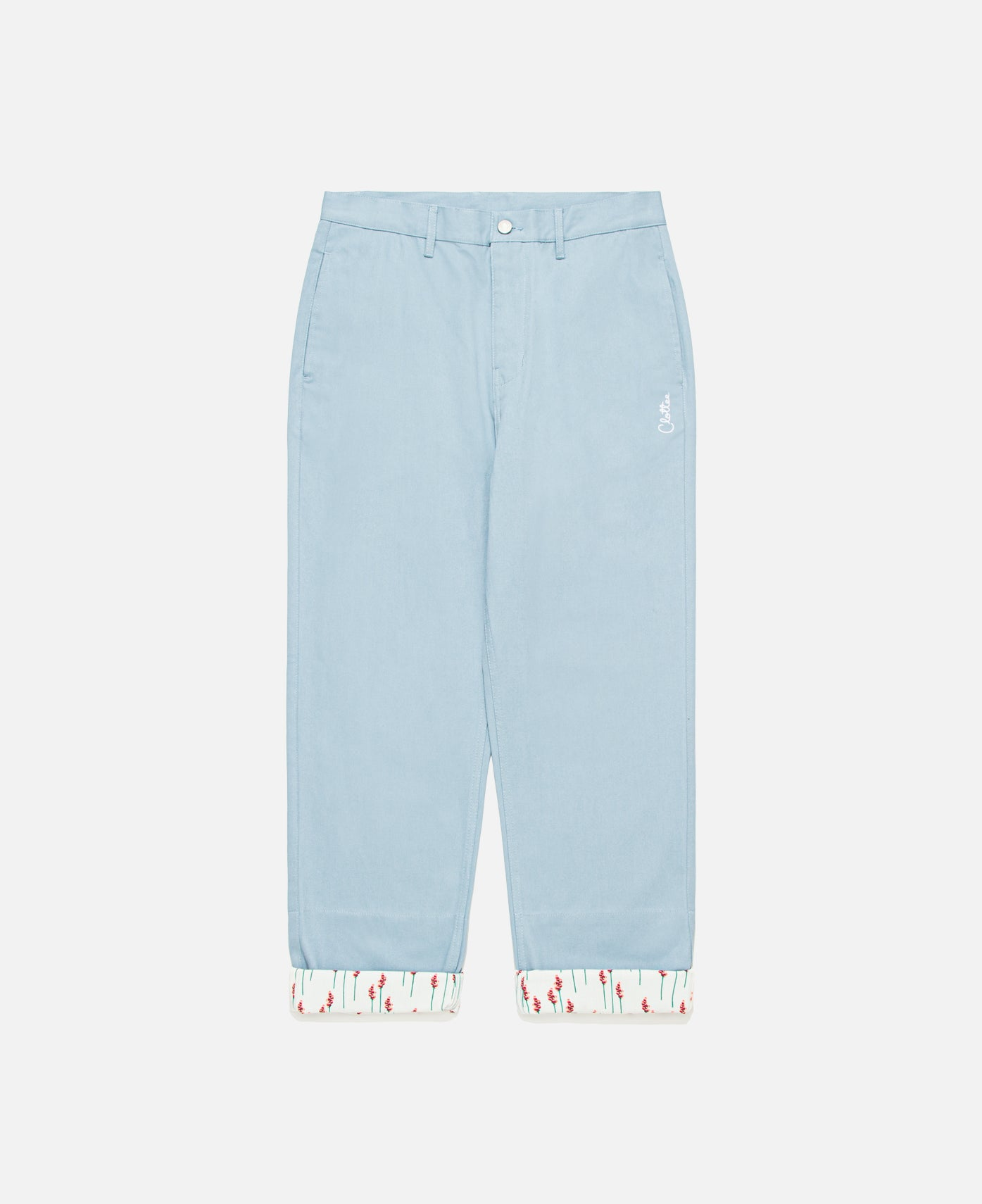 Contrast Cuff Pants (Blue)
