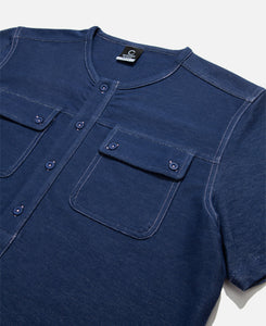 Contrast Stitch Henley Shirt (Navy)