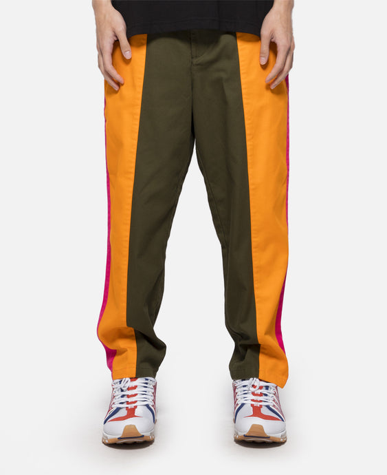 Contrast Color Tapered Pants (Olive)